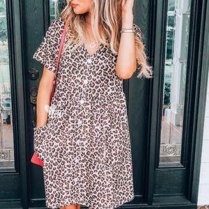 NWT Leopard Print Boho Dress